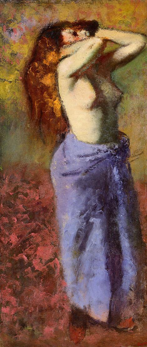 Woman in a Blue Dressing Gown, Torso Exposed 1890
