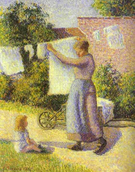 Woman hanging up the washing 1887