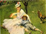 Camille Monet and her son Jean in the garden at argenteuil 1874