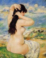 Nude fixing her hair 1885