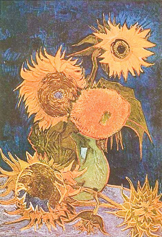 Still Life: Vase with Five Sunflowers 1888
