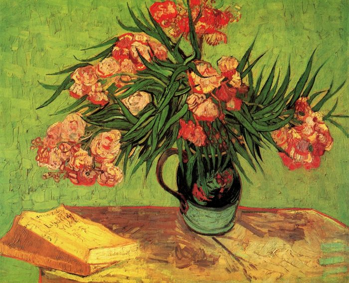 Still Life: Vase with Oleanders and Books 1888